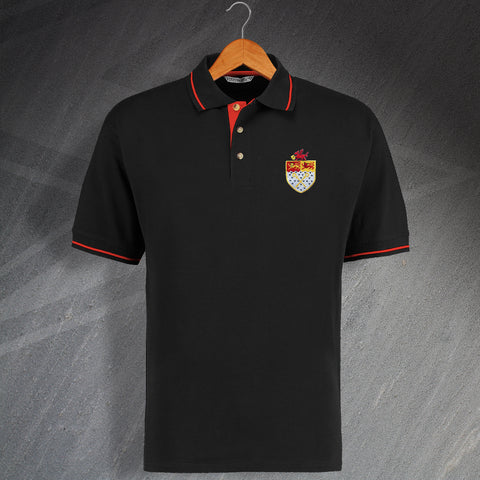 Retro Wrexham Embroidered Contrast Polo Shirt