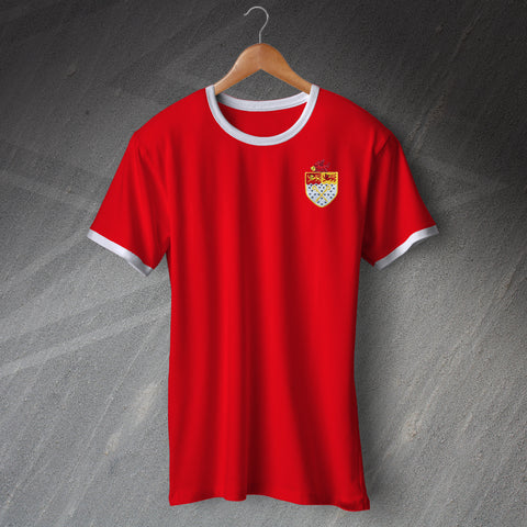 Retro Wrexham Football Ringer Shirt with Embroidered Badge