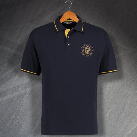 The Rhinos Rugby Polo Shirt Embroidered Contrast Pride of Leeds