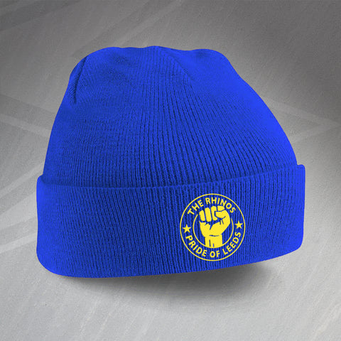 The Rhinos Rugby Beanie Hat Embroidered Pride of Leeds