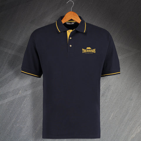 The Rhinos Rugby Polo Shirt Embroidered Contrast It's a Way of Life