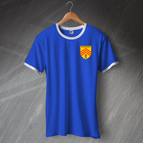 Retro Riverside FC Football Ringer Shirt with Embroidered Badge