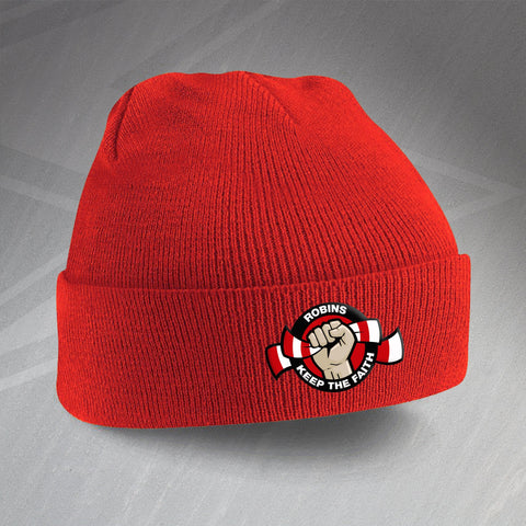 Swindon Football Beanie Hat Embroidered Robins Keep The Faith