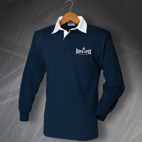 RAF Regiment Rugby Shirt Embroidered Long Sleeve Rock Apes It's a Way of Life