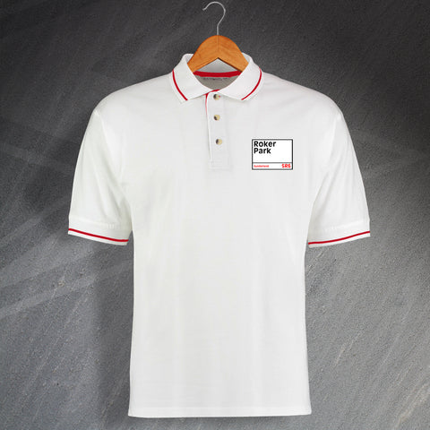 Sunderland Football Polo Shirt Embroidered Contrast Roker Park