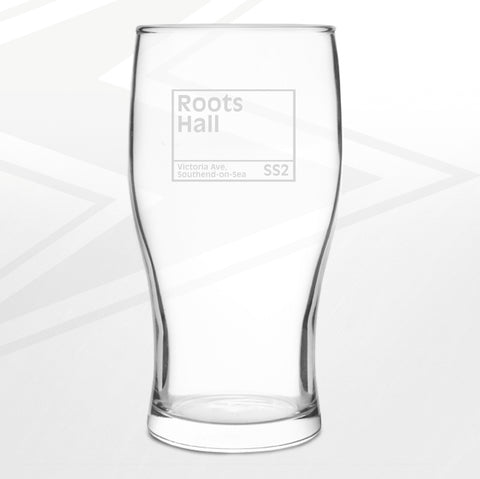 Southend Football Pint Glass Engraved Roots Hall