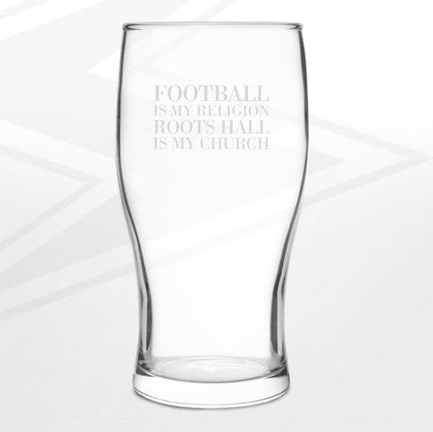 Southend Football Pint Glass Engraved Football is My Religion Roots Hall is My Church