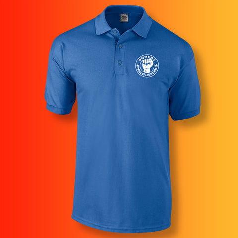 Rovers Polo Shirt with The Pride of Lancashire Design Blue