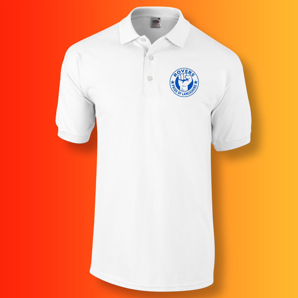 Rovers Polo Shirt with The Pride of Lancashire Design White