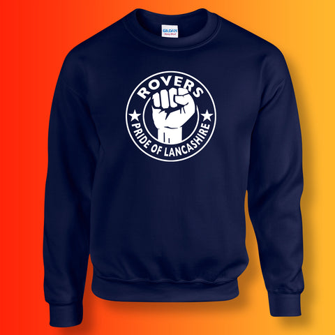 Rovers Sweater with The Pride of Lancashire Design Navy