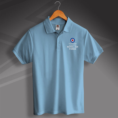 RAF Polo Shirt Embroidered Proud to Have Served