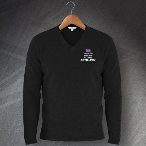 Royal Artillery Jumper Embroidered V-Neck Proud to Have Served