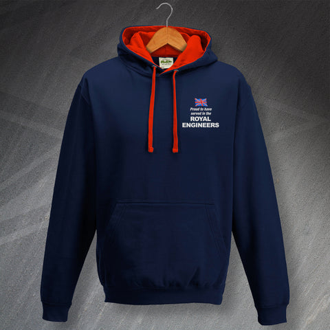 Proud to Have Served In The Royal Engineers Embroidered Contrast Hoodie