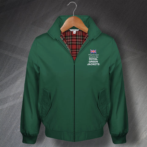 Royal Green Jackets Harrington Jacket Embroidered Proud to Have Served