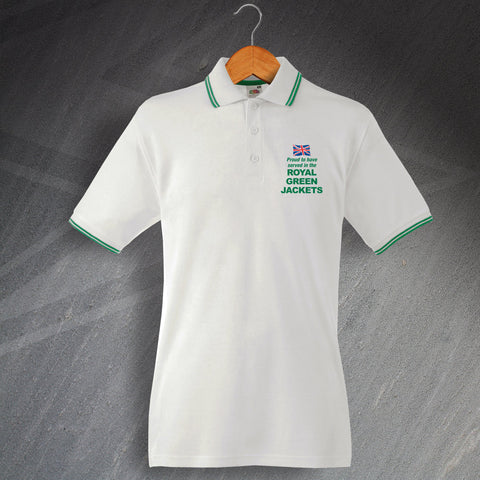 Royal Green Jackets Polo Shirt Embroidered Tipped Proud to Have Served