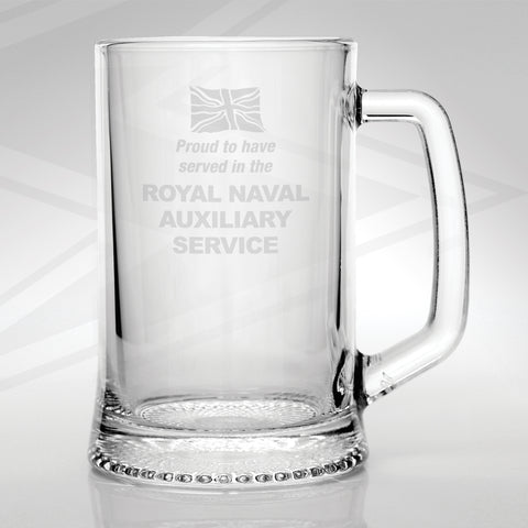 Proud to Have Served in The Royal Naval Auxiliary Service Engraved Glass Tankard
