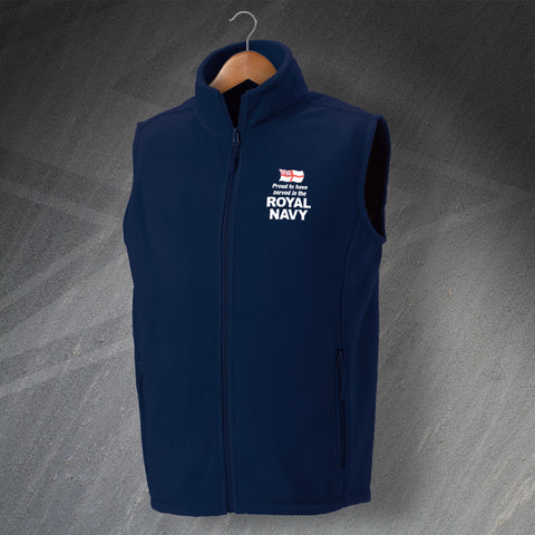 Royal Navy Fleece Gilet Embroidered Proud to Have Served