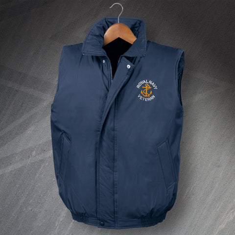 Royal Navy Veteran with Anchor Embroidered Padded Gilet