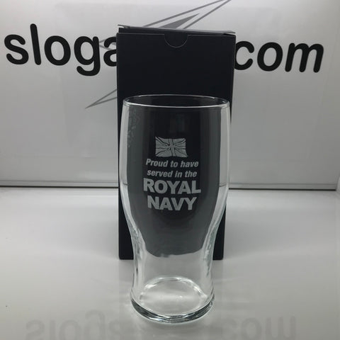 Royal Navy Pint Glass Engraved Proud to Have Served