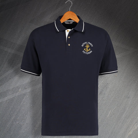 Royal Navy Veteran with Anchor Embroidered Contrast Polo Shirt