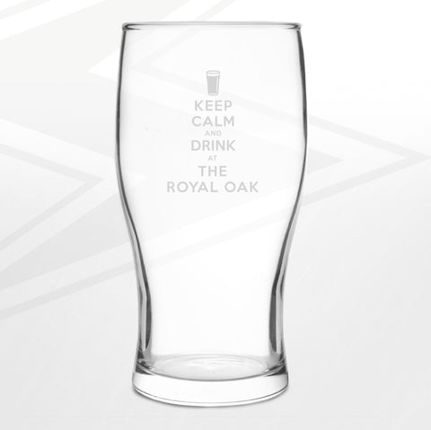 The Royal Oak Pub Pint Glass Engraved Keep Calm and Drink at The Royal Oak