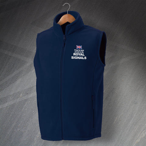 Royal Corps of Signals Fleece Gilet Embroidered Proud to Have Served in The Royal Signals