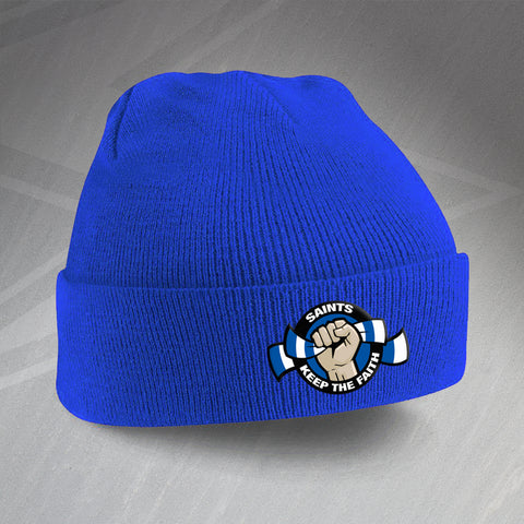 St Johnstone Football Beanie Hat Embroidered Saints Keep The Faith