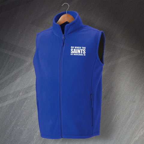 St Johnstone Football Fleece Gilet Embroidered Oh When The Saints Go Marching In