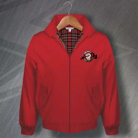 Salford Rugby Harrington Jacket Embroidered Red Devils Keep The Faith