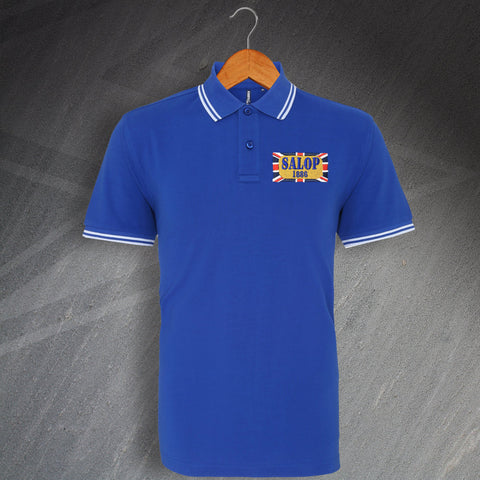 Shrewsbury Football Polo Shirt Embroidered Tipped Salop 1886