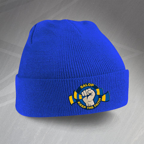 Shrewsbury Football Beanie Hat Embroidered Salop Keep The Faith