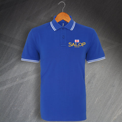 Shrewsbury Football Polo Shirt Embroidered Tipped Salop for Life