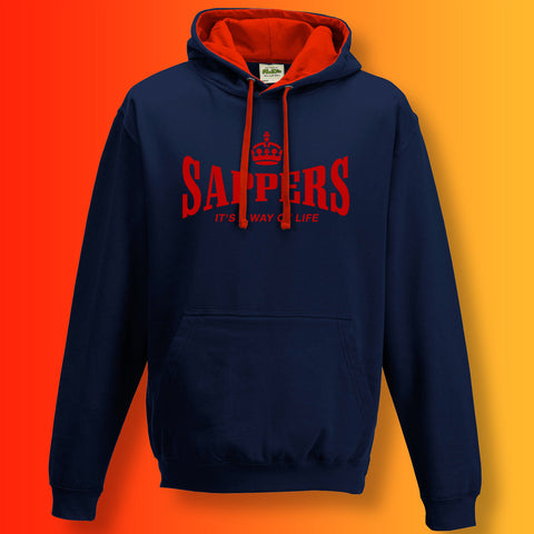 The Sappers Contrast Hoodie with It's a Way of Life Design