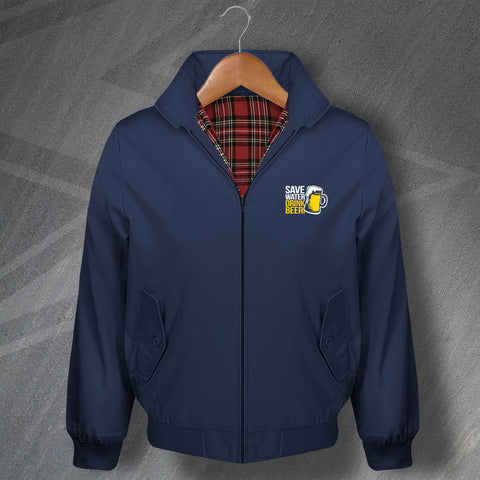 Save Water Drink Beer Embroidered Classic Harrington Jacket