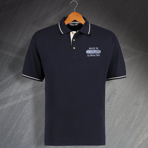 Made In Scotland All Original Parts Unisex Embroidered Contrast Polo Shirt