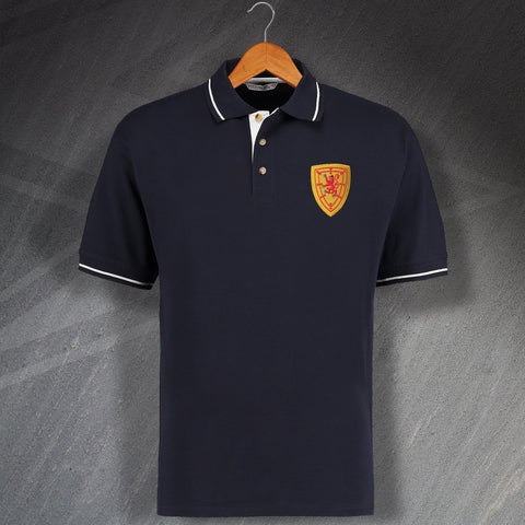 Retro Scotland Embroidered Contrast Polo Shirt