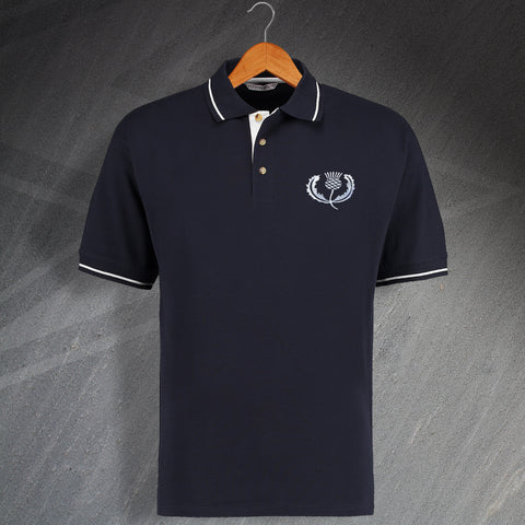 Scotland Rugby Polo Shirt Embroidered Contrast 1925