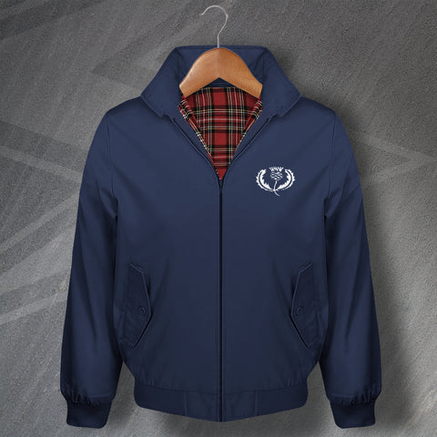 Retro Scotland Rugby Classic Harrington Jacket with Embroidered Badge