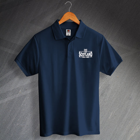 Scotland Rugby Polo Shirt Embroidered I'm Scotland Till I Die