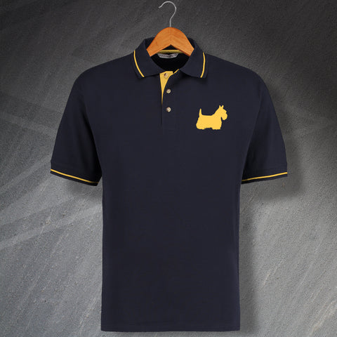 Scottish Terrier Embroidered Contrast Polo Shirt
