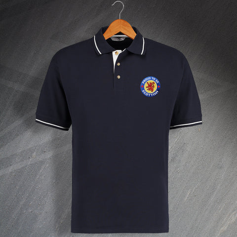Proud to Be Scottish Contrast Polo Shirt with Embroidered Badge
