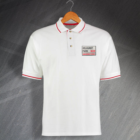 Palace Football Polo Shirt Embroidered Contrast Selhurst Park