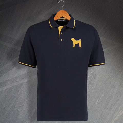 Shar Pei Embroidered Contrast Polo Shirt