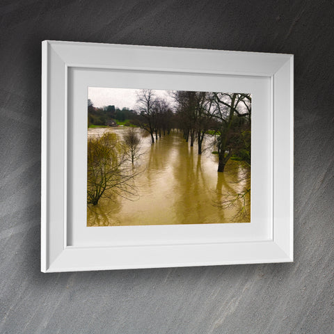 Shrewsbury Framed Print Floods from The Kingsland Bridge