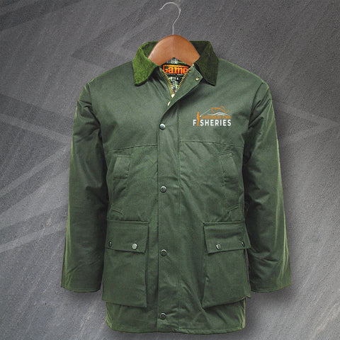 Shrewsbury Town Fisheries Wax Jacket Embroidered Padded