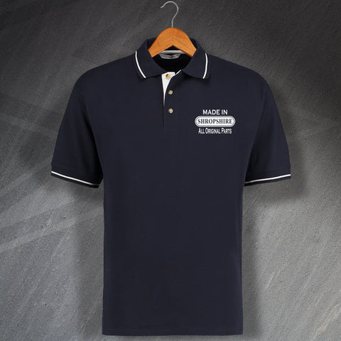 Shropshire Polo Shirt Embroidered Contrast Made in Shropshire All Original Parts