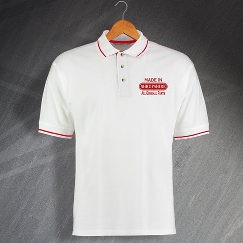 Made In Shropshire All Original Parts Unisex Embroidered Contrast Polo Shirt