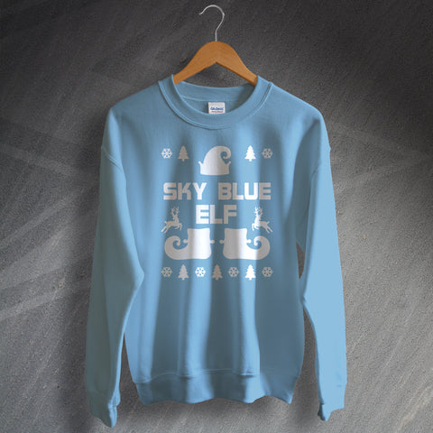 Coventry Football Christmas Jumper Sky Blue Elf