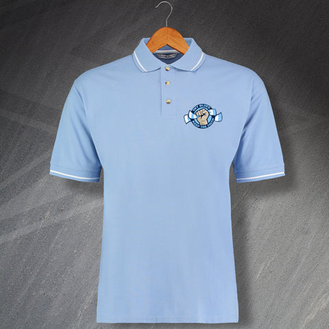 Coventry Football Polo Shirt Embroidered Contrast Sky Blues Keep The Faith