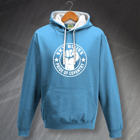 Coventry Football Hoodie Contrast Sky Blues Pride of Coventry